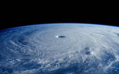 eye of hurricane, cyclone, view from space, Earth, storm from space, hurricane view from space
