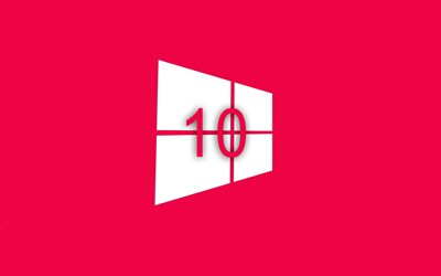 fond rose, windows 10, plat, design, création, Microsoft