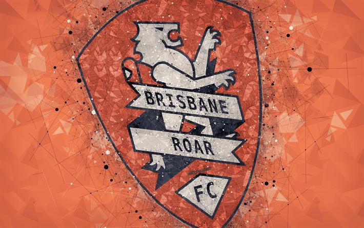 Download wallpapers Brisbane Roar FC, 4k, logo, geometric ...