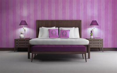 stylish bedroom design, project, classic style, pink bedroom, dark wooden furniture, stylish interior, bedroom