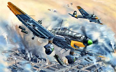 ju-87d-5, sturzkampfflugzeug, stuka, henschel hs 129, german bombers, world war ii, art, world of warplanes, sc250 bomb