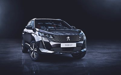 Peugeot 3008 GT, 4K, studio, 2020 cars, crossovers, 2020 Peugeot 3008, french cars, Peugeot