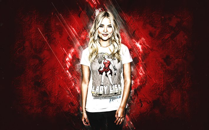 Ashley Benson, american actress, portrait, red stone background, creative art
