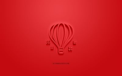 Balloon icon, red background, 3d symbols, Balloon, creative 3d art, 3d icons, Baloon sign