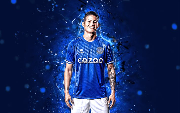 James Rodriguez, 2020, 4k, Everton FC, colombian footballers, soccer, James David Rodríguez Rubio, Premier League, James, football, James Rodriguez 4K, blue neon lights, James Rodriguez Everton