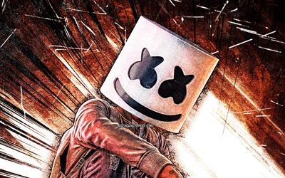 DJ Marshmello, brown abstract rays, 4k, grunge art, Christopher Comstock, fan art, music stars, american DJ, Marshmello 4K, superstars, Marshmello, DJs