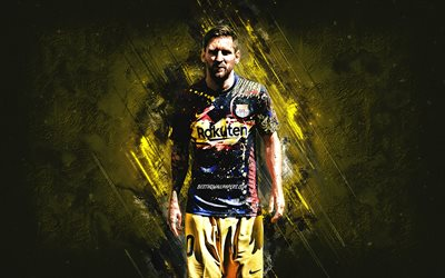 download wallpapers lionel messi fc barcelona argentine footballer 2021 barcelona uniform creative art yellow stone background football la liga spain for desktop free pictures for desktop free download wallpapers lionel messi fc