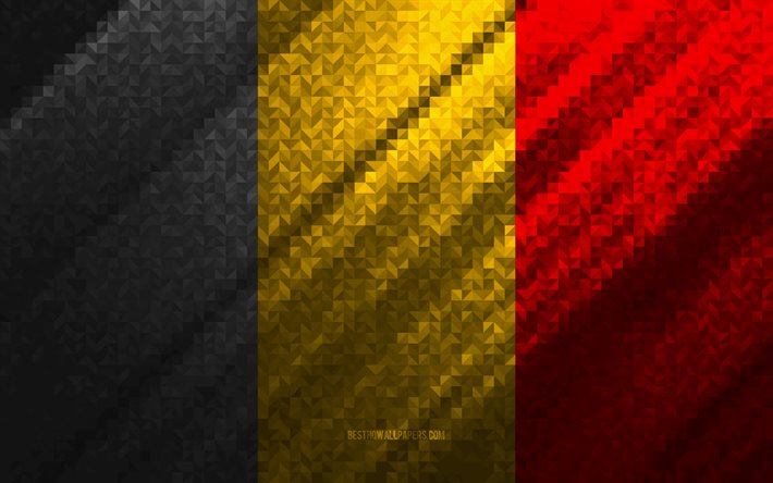 Flag of Belgium, multicolored abstraction, Belgium mosaic flag, Europe, Belgium, mosaic art, Italy flag