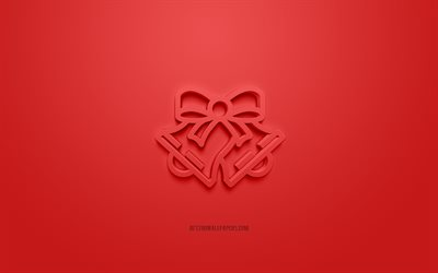 Christmas Bells 3d icon, red background, 3d symbols, Christmas Bells, 3d icons, Christmas Bells sign, Christmas 3d icons