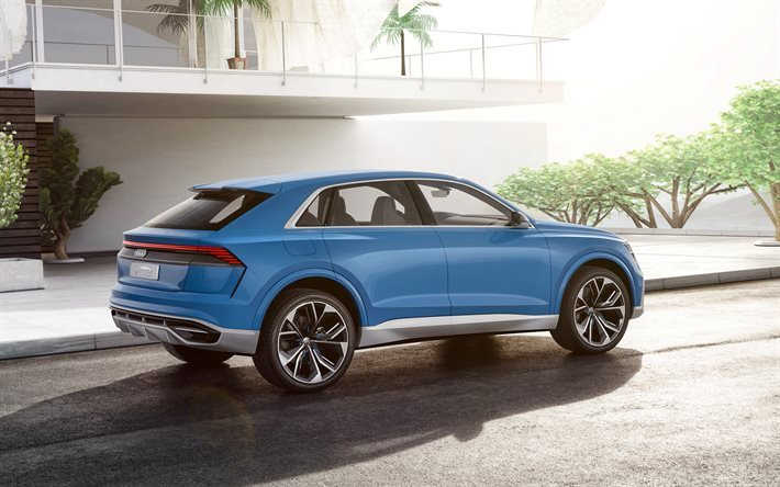 Audi Q8 Concept, 2017, new Q8, blue Audi, rear view, 2017 cars