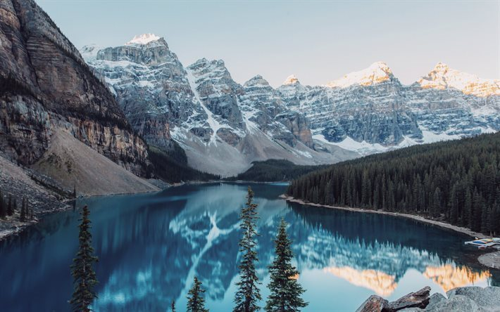 Moraine Lake, Canada, mountains, forest, Banff National Park, Alberta