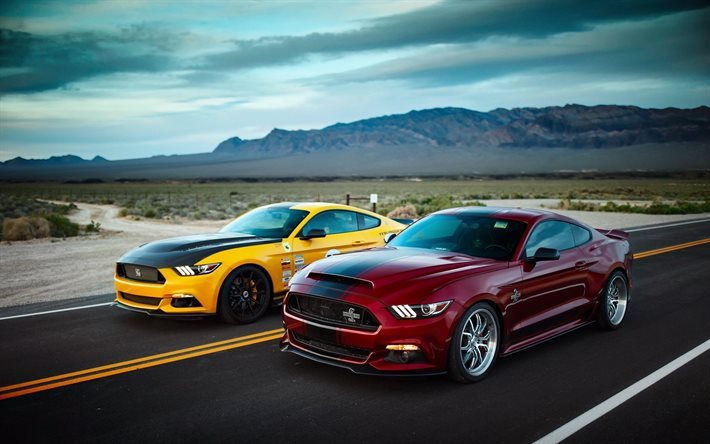 Ford Mustang, 2016 cars, road, supercars, USA