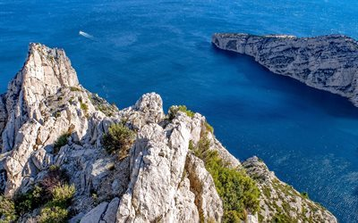 Marseille, 4k, sea, summer, cliff, France
