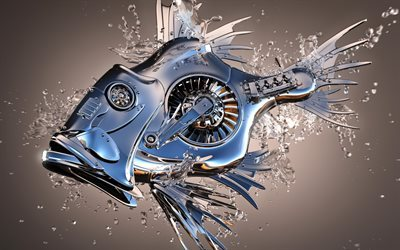 metal fish, 3D fish, 3D metal objects, steel fish