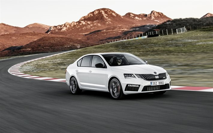 Skoda Octavia RS, 2017, new Octavia, white Skoda, a7 facelift, sports Octavia