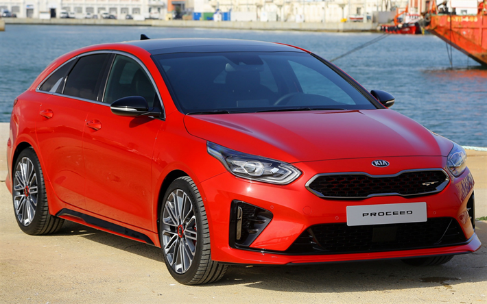 Kia ProCeed GT, 2019, sports wagon, tuning, new red ProCeed, Korean cars, Kia