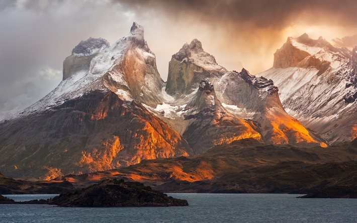 Andes, Patagonia, evening, sunset, rocks, mountain landscape, bay, ocean