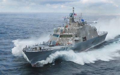 USS St Louis, LCS-19, American warship, USA flag, United States Navy, warship at sea, United States