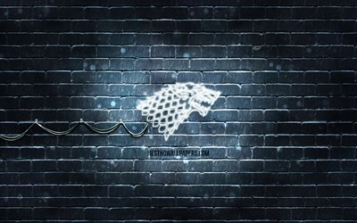 House Stark emblem, 4k, gray brickwall, Game Of Thrones, artwork, Game of Thrones Houses, House Stark logo, House Stark, neon icons, House Stark sign