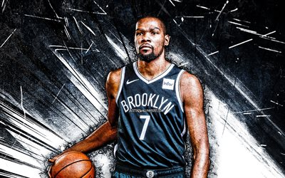 4k, Kevin Durant, grunge art, Brooklyn Nets, NBA, basketball, Kevin Wayne Durant, USA, Kevin Durant Brooklyn Nets, white abstract rays, Kevin Durant 4K