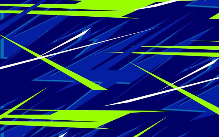 abstract lightings, grunge art, geometric backgrounds, creative, green blue backgrounds, colorful lines, geometric shapes, blue backgrounds