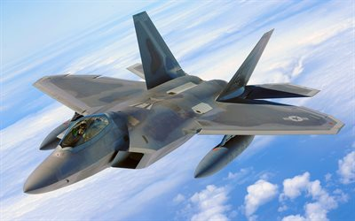 Lockheed Boeing F-22 Raptor, 4k, highter, 5th Generation, American Air Force, F-22 Raptor, combat aircraft