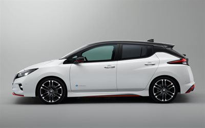 Nissan Leaf, Nismo Concept, 2017, 4k, tuning Leaf, white, hatchback, new cars, electric car, Nissan