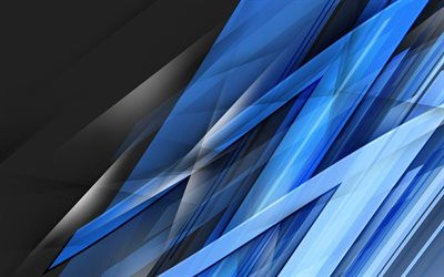 blue shards, 4k, lines, dark background, art, abstract material