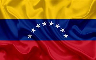Venezuelan flag, Venezuela, national flag, silk texture, flag of Venezuela
