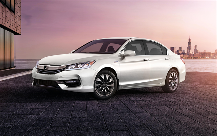 Download wallpapers Honda Accord, Hybrid, 2018, white Accord, 4k, exterior, new Accord 2018 ...