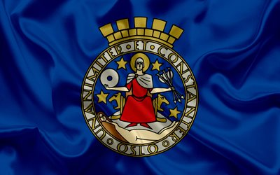 Flag of Oslo, Norway, coat of arms Oslo, symbols, capital of Norway, Oslo