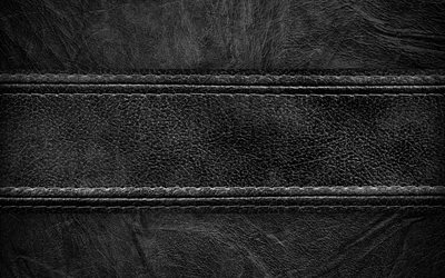 Black leather, 4K, leather texture, seam, black texture, leather