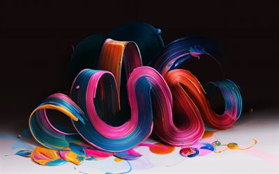 multicolored paint, 3d waves, bends, curves, art, darkness