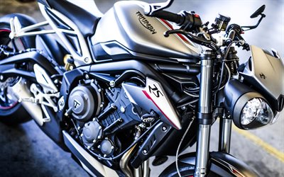 Triumph Street Triple R, 4k, 2017 biciclette, close-up, superbike, Trionfo