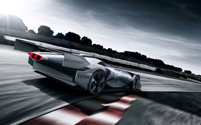 Peugeot L750 R, HYbrid Concept, 2017, rear view, racing hybrid, sports car, French cars, Peugeot