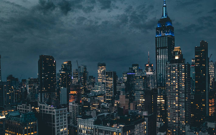 Download Wallpapers 4k New York Night Empire State