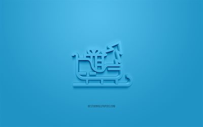 Sleigh 3d icon, blue background, 3d symbols, Sleigh, creative 3d art, 3d icons, Sleigh sign, Winter 3d icons