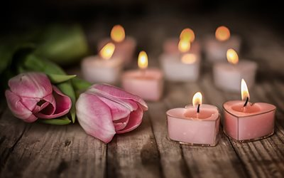love concepts, pink tulips, candles, romantic evening, bokeh, hearts, beautiful flowers, tulips