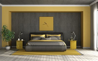 yellow-black bedroom, yellow-black furniture in the bedroom, modern interior design, bedroom project