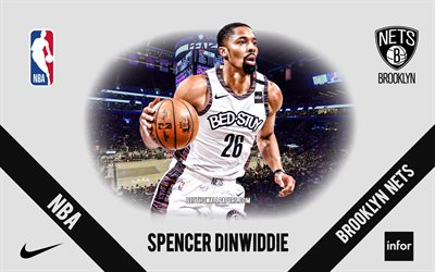 Spencer Dinwiddie, Brooklyn Nets, giocatore di basket americano, NBA, ritratto, USA, basket, Barclays Center, logo Brooklyn Nets