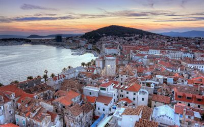 Split, evening, sunset, coast, Split cityscape, Croatia resorts, Adriatic Sea, Split panorama, Croatia