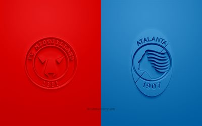 FC Midtjylland vs Atalanta, UEFA Champions League, Group D, 3D logos, red-blue background, Champions League, football match, FC Midtjylland, Atalanta
