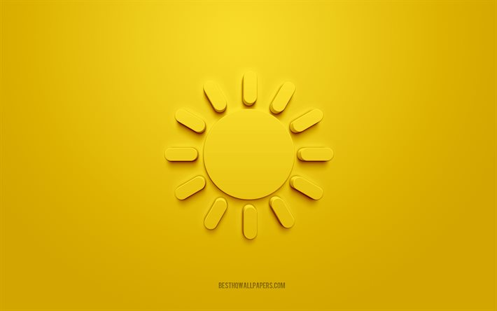 Sun 3d icon, yellow background, 3d symbols, Sun, creative 3d art, 3d icons, Sun sign, Good morning 3d icons