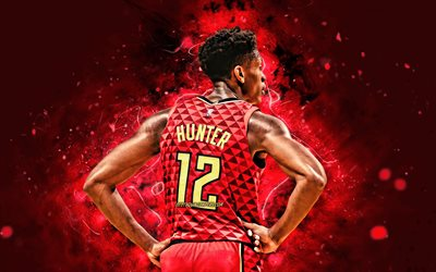 deandre jäger, 2020, 4k -, zurück, ansicht, atlanta hawks, nba, basketball, rot, neon-lichter, deandre james hunter, usa, deandre hunter atlanta hawks, deandre hunter 4k