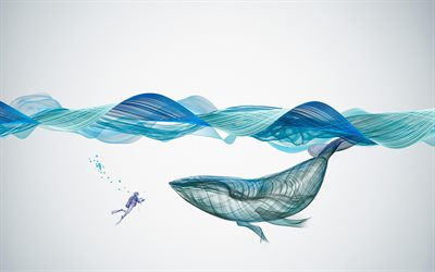 4k, abstract waves, whale, diver, art, creative