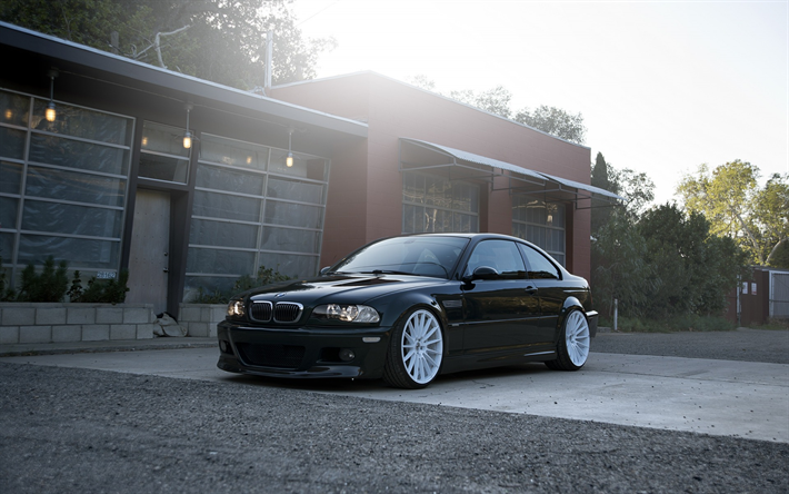 Download Wallpapers BMW M3 Black Coupe White Wheels