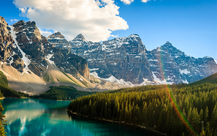 Download Wallpapers Moraine Lake Rainbow 4k Banff