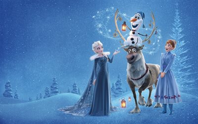 Elsa, Windows, Anna, Kristoff, 4k, Olaf Frozen Aventura, en 2017, vídeo, animación 3D