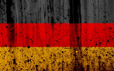 flag of Germany, German flag, 4k, stone texture, grunge, Europe, Germany, national symbols, Germany national flag