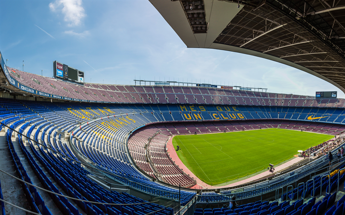 Download wallpapers camp nou barcelona spain fcb 4k - Camp nou 4k wallpaper ...